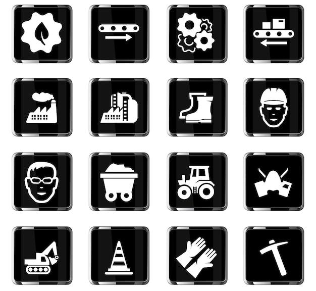Icônes vectorielles industrielles pour la conception d'interface utilisateur