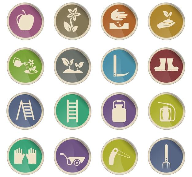 Icônes vectorielles de jardinage sous forme d'étiquettes en papier rondes