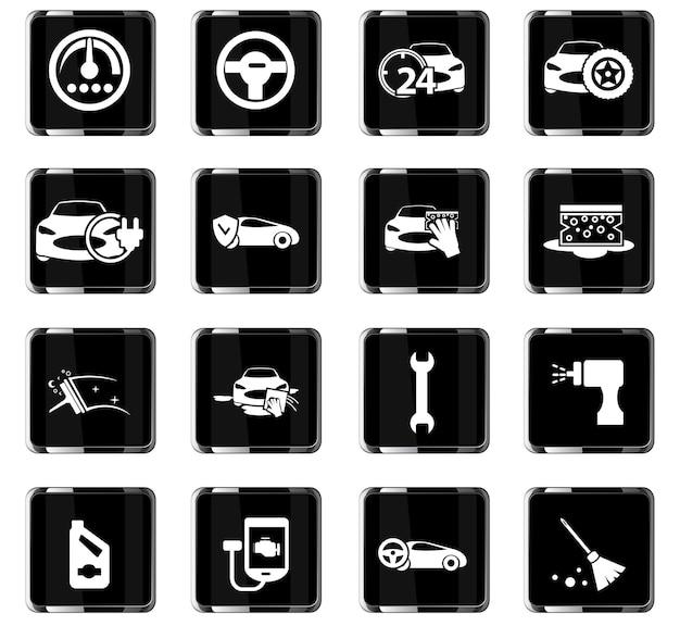 Icônes vectorielles de magasin de voiture pour la conception d'interface utilisateur
