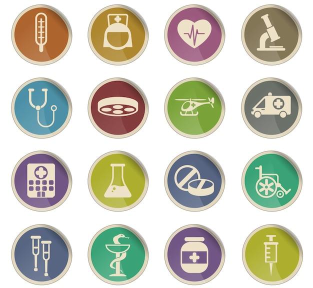 Icônes vectorielles de médecine sous forme d'étiquettes en papier rondes