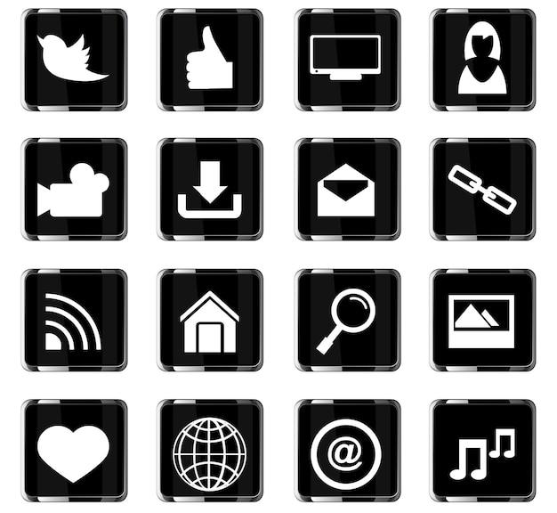 Icônes vectorielles de médias sociaux pour la conception d'interface utilisateur