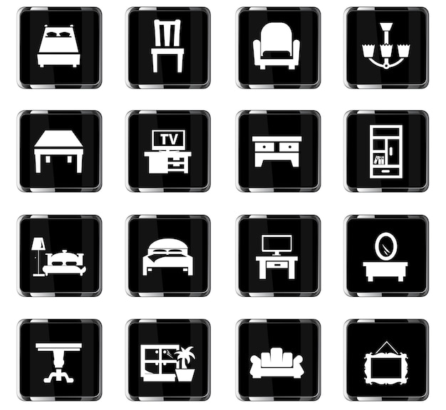 Icônes vectorielles de meubles pour la conception d'interface utilisateur