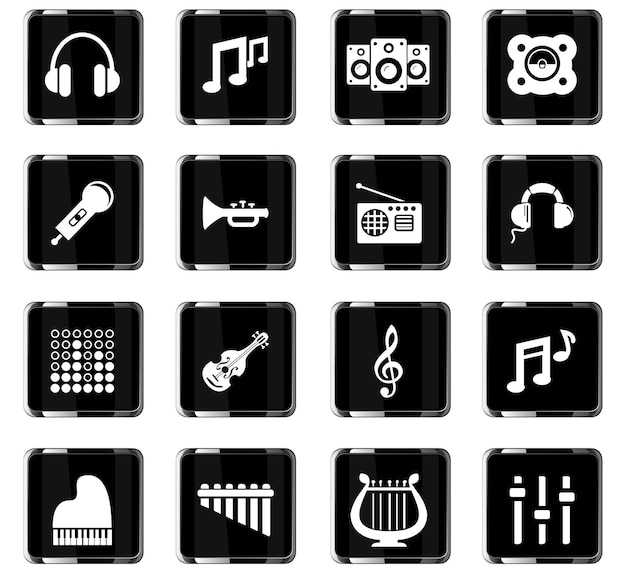 Icônes vectorielles de musique pour la conception d'interface utilisateur