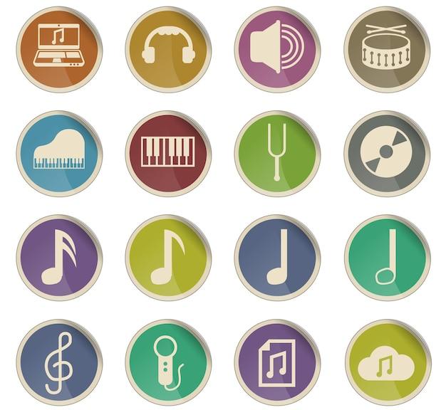 Icônes vectorielles de musique sous forme d'étiquettes en papier rondes