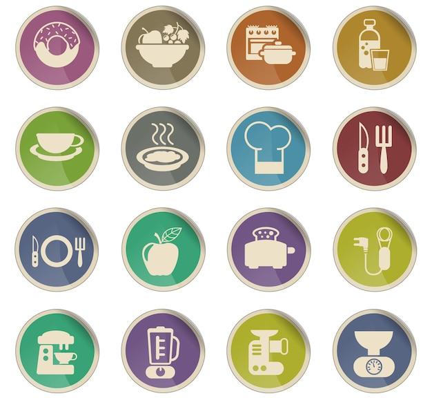 Icônes vectorielles de nourriture et de cuisine sous forme d'étiquettes en papier rondes