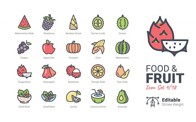 Icônes vectorielles nourriture et fruits
