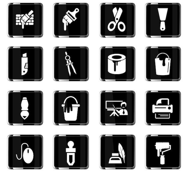 Icônes vectorielles d'outils d'art pour la conception d'interface utilisateur