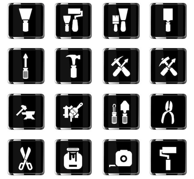 Icônes vectorielles des outils de travail pour la conception de l'interface utilisateur