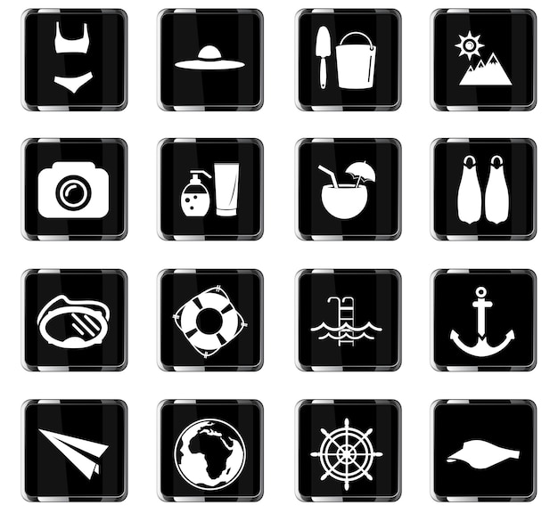 Icônes vectorielles de plage pour la conception d'interface utilisateur