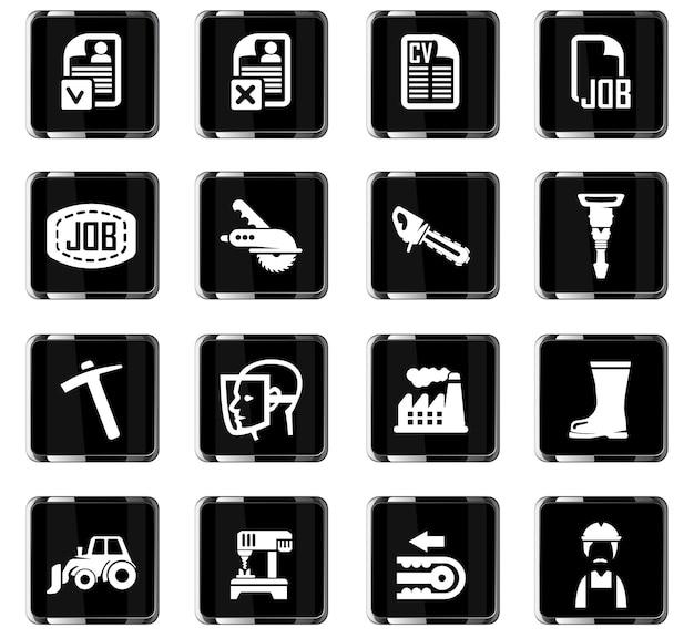 Icônes vectorielles de recherche d'emploi pour la conception d'interface utilisateur