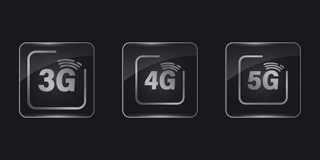 Icônes vectorielles de réseau mobile 3g, 4g et 5g. ensemble d'icônes internet 5g 4g 3g. cadre en verre, illustration vectorielle réaliste. boutons en verre transparent à application carrée