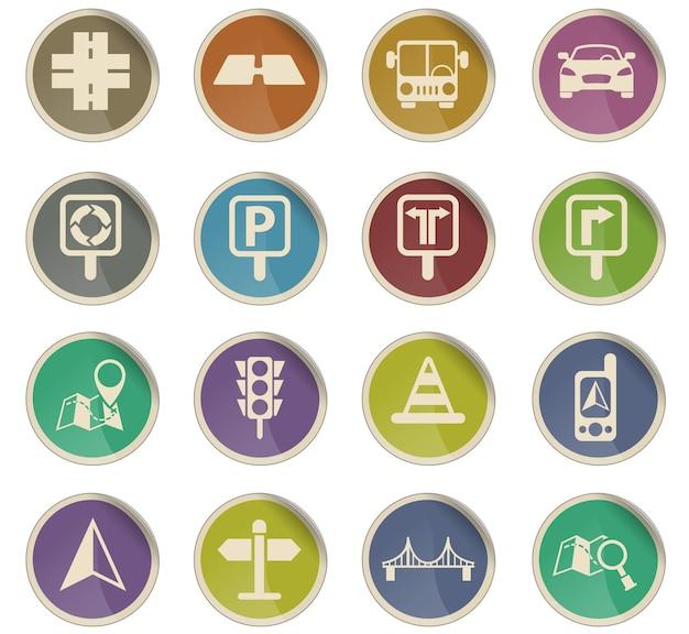 Icônes vectorielles de route sous forme d'étiquettes en papier rondes