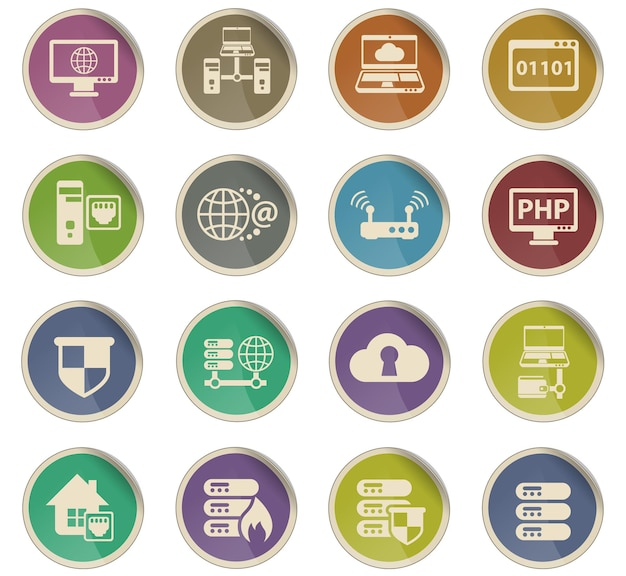 Icônes vectorielles de serveur sous forme d'étiquettes en papier rondes