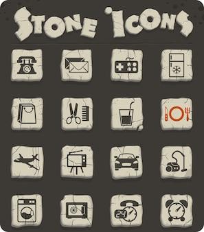 Icônes vectorielles de service de chambre d'hôtel pour la conception d'interfaces web et utilisateur