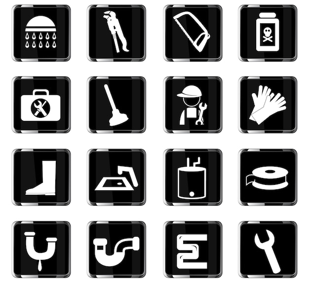 Icônes vectorielles de service de plomberie pour la conception d'interface utilisateur