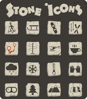 Icônes vectorielles de ski sur des blocs de pierre dans le style de l'âge de pierre pour la conception d'interfaces web et utilisateur
