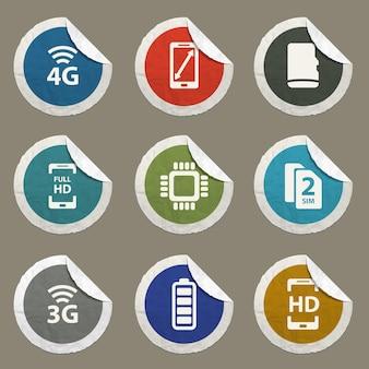 Icônes vectorielles de spécifications smarthone pour les sites web et l'interface utilisateur