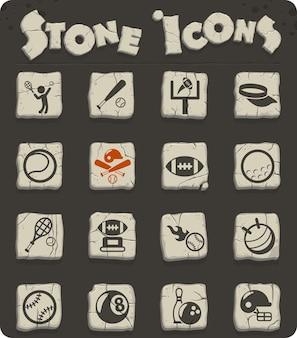 Icônes vectorielles sportives sur des blocs de pierre dans le style de l'âge de pierre pour la conception d'interfaces web et utilisateur