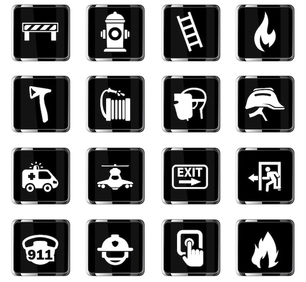 Icônes vectorielles d'urgence pour la conception de l'interface utilisateur