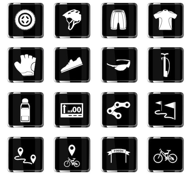 Icônes vectorielles de vélo pour la conception d'interface utilisateur