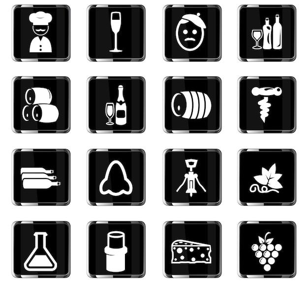 Icônes vectorielles de vignoble pour la conception d'interface utilisateur