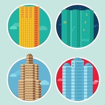 Icônes vectorielles de la ville dans le style plat sur les emblèmes ronds