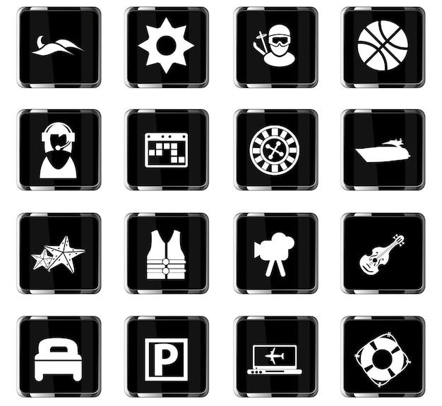 Icônes vectorielles de voyage pour la conception de l'interface utilisateur