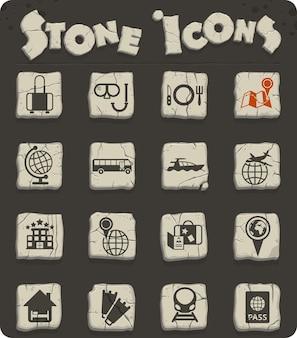 Icônes vectorielles de voyage pour la conception d'interfaces web et utilisateur