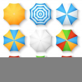 Icônes vectorielles vue de dessus de plage soleil parapluies