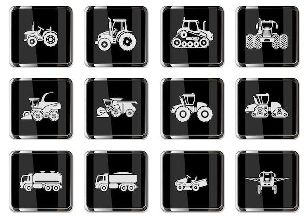 Icônes de véhicules agricoles sertie d'éléments de remorques de tracteurs combinés de culture et d'irrigation. pictogrammes en boutons chromés noirs.