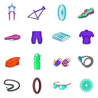 Icônes de vélo définies dans un style bande dessinée