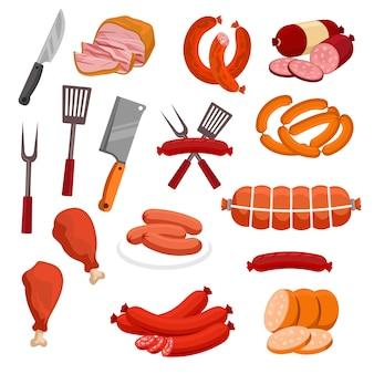 Icônes de viande et de saucisses