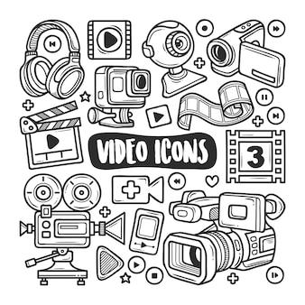 Icônes vidéo coloriage doodle dessiné à la main