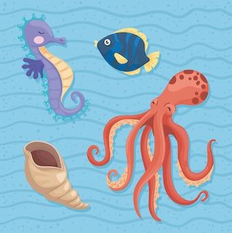 Icônes de la vie marine