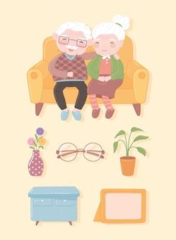 Icônes de vieux couple