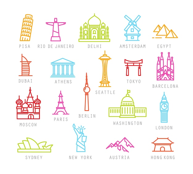 Icônes de la ville dans un style plat de couleur avec des noms de villes.