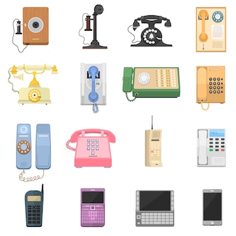 Icônes vintage de téléphones.