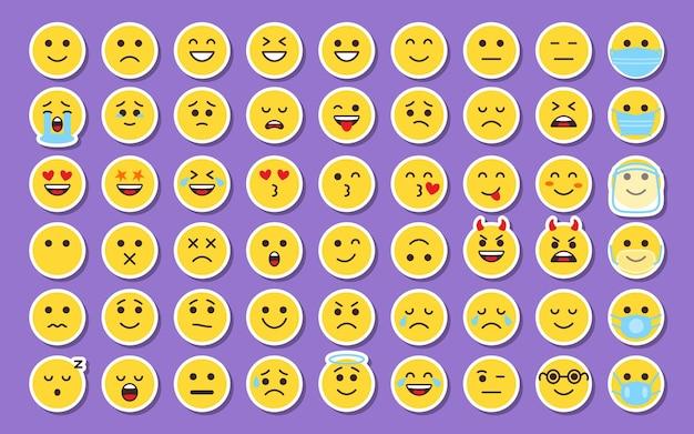 Les icônes de visage d'autocollant jaune emoji définissent des étiquettes de sourire avec une ombre dans des étiquettes de collection de style dessin animé, un signe d'émotion d'humeur d'émoticône pour des applications de chat numérique ou un patch ou une épingle web pour l'emballage