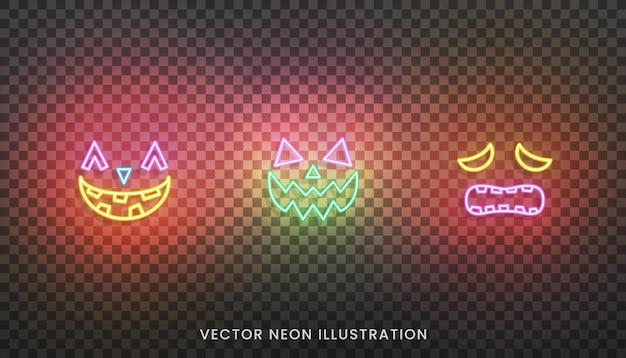 Icônes de visage néon halloween. ensemble d'expressions de visage de couleur néon lumineux pour halloween