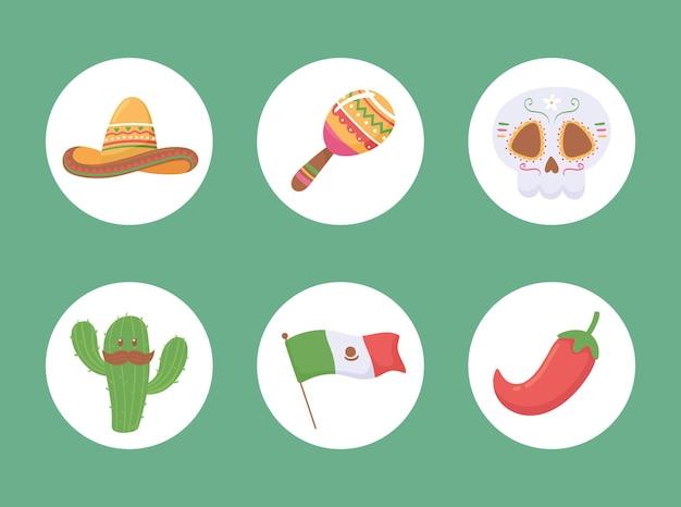 Icônes viva mexico traditionnel