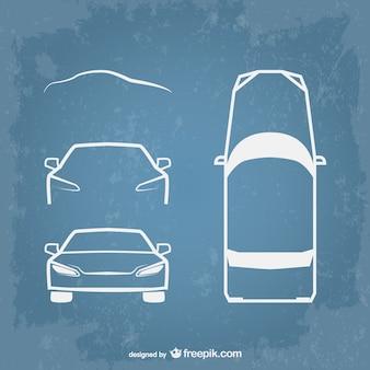 Les icônes de voiture d'art de la ligne de vecteur