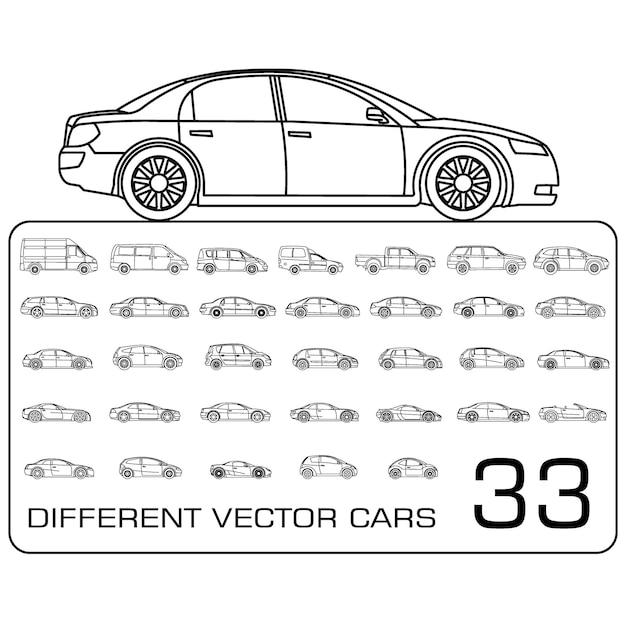 Icônes de voiture définies vecteur de contour