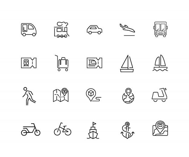Icônes de voyage. ensemble de vingt icônes de ligne. billet de train, bus, vélo.