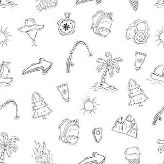 Icônes de voyages mignons dans le modèle sans couture avec style dessinés à la main ou doodle
