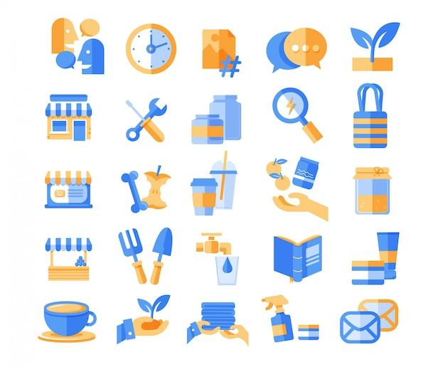 Icônes web bleu et jaune