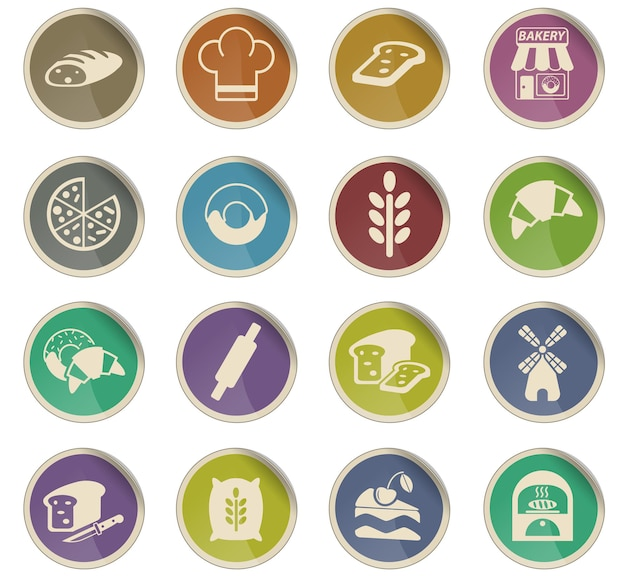 Icônes web de boulangerie sous forme d'étiquettes en papier rondes