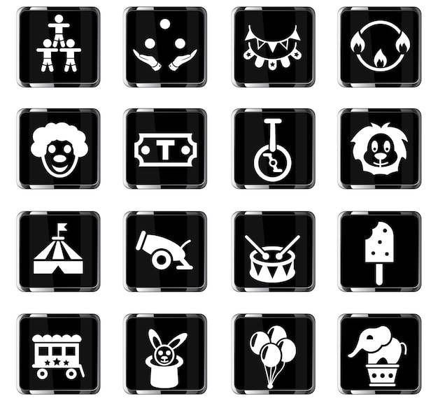 Icônes web de cirque pour la conception d'interface utilisateur