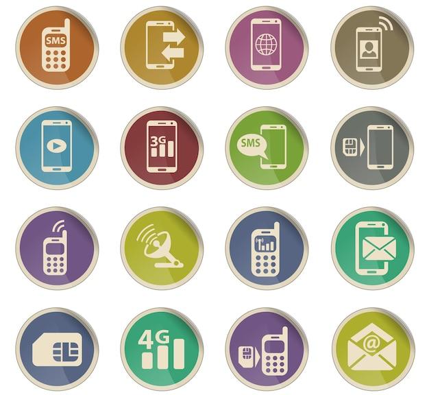 Icônes web de connexion mobile sous forme d'étiquettes en papier rondes