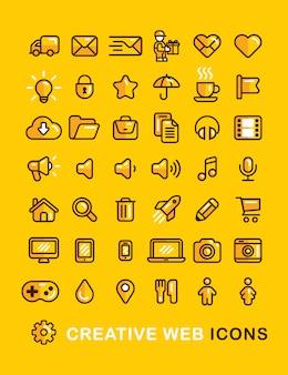 Icônes web définies icône de style de contour plat linéaire.