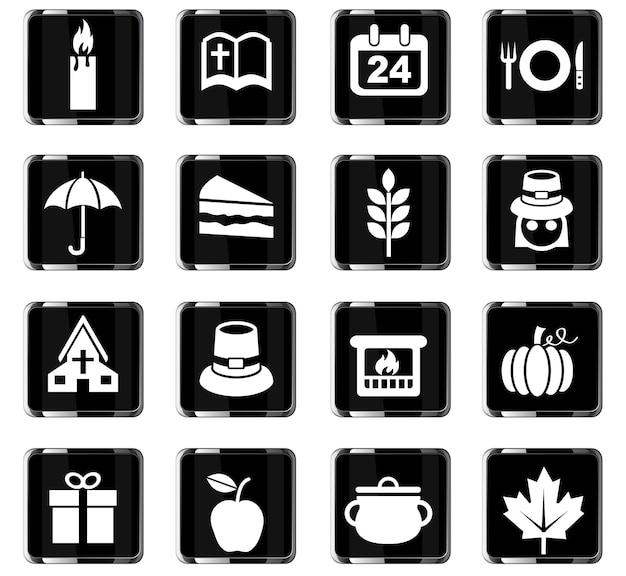 Icônes web du jour de thanksgiving pour la conception de l'interface utilisateur